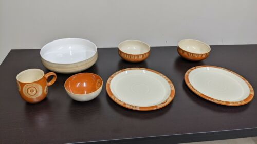 Denby Plates, Bowls and Cup (Fire Chili With Swirl Design)