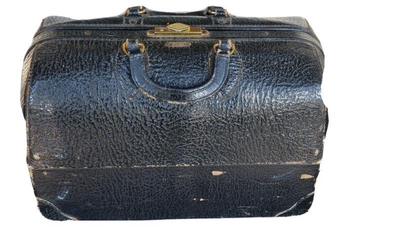 Vintage Emdee Schell Doctor Bag Top Grain Cowhide Model 2293363 w/ Stethoscope