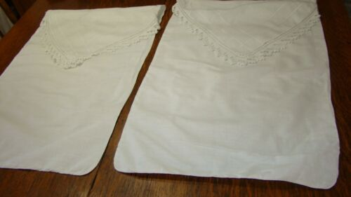 PAIR VTG VICTORIAN MY IN ITALY WHITE LINEN Pillowcases Hand Crochet Lace