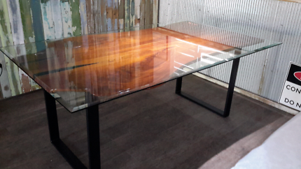 Dining Room Cedar Table Glass Topped STUNNING