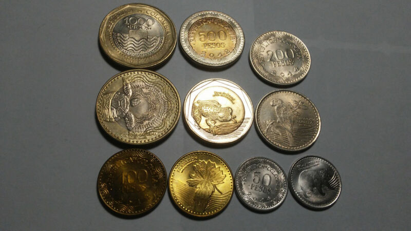 COLOMBIA, MODERN 5 PIECE COIN SET, 50 TO 1000 PESOS (2 BIMETAL)