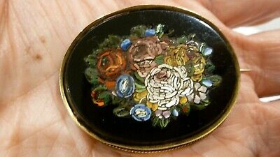 ANTIQUE LADIES FLORAL MICRO-MOSAIC 14K YELLOW GOLD BROOCH PIN  ()