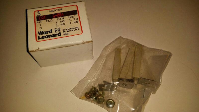 Ward Leonard A-004 PACK OF 3 Motor Starter Overload Heaters