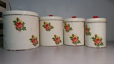Vintage~Red & White w/Roses~ Kitchen METAL Canisters w/lids~NESTING