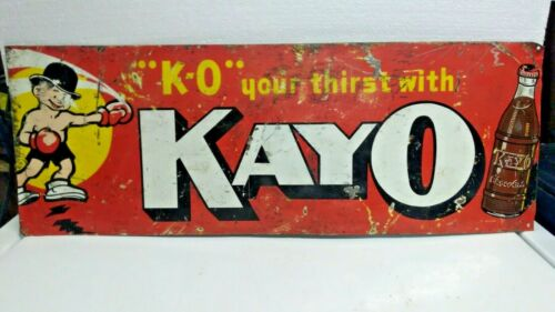 Vintage KAYO Chocolate Soda Metal Sign K-O your thirst with KAYO Chocolate 1950s