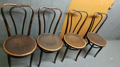 4- ANTIQUE BENTWOOD BISTRO Cafe CHAIRS Thonet  pressed seat Czech partial label