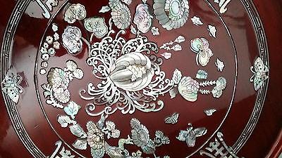 Korean Artisian 1950's Laquered Deep Reddish Hue Mother-of-Pearl Inlaid Table