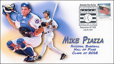 2016, BASEBALL HALL OF FAME, MIKE PIAZZA, PICTORIAL POSTMARK, 16-250
