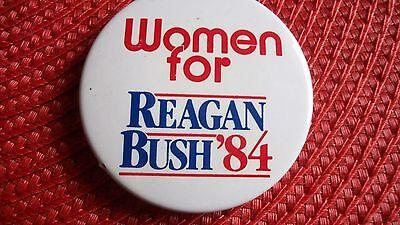 Women for Reagan Bush 1984 campaign button ships free republican presidential