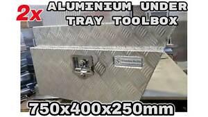 Pair of 750x400x250mm Aluminium Under Tray Toolbox Under Body tool box