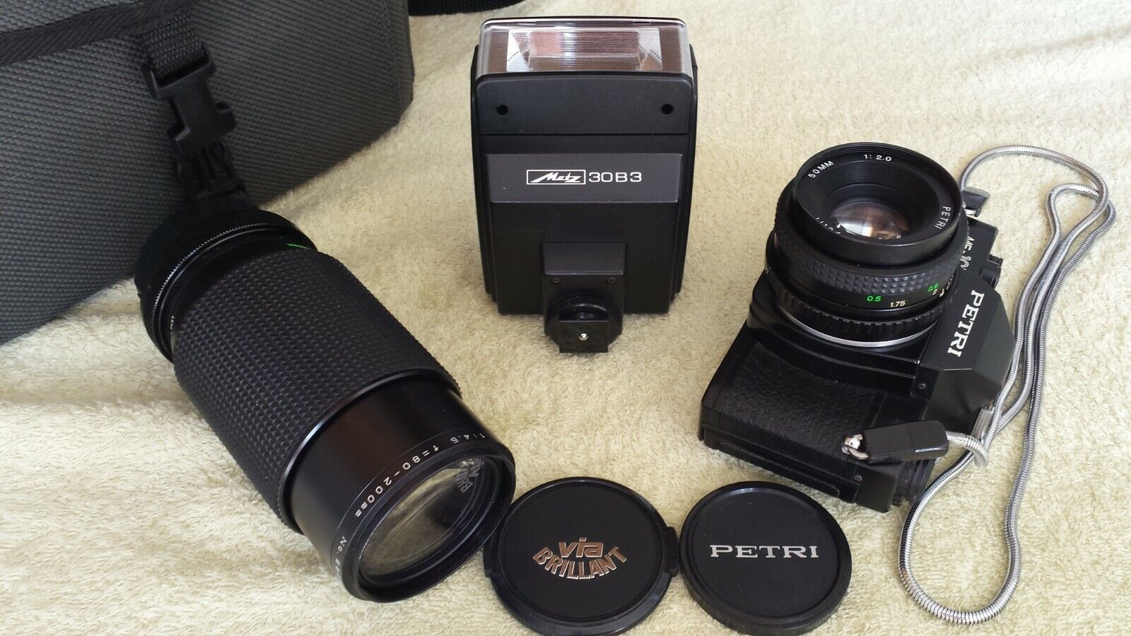Petri MF-101 Spiegelreflex Kleinbild Kamera, analog, mit Zoom-Objektiv, Blitz
