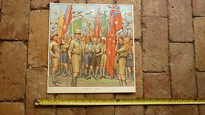 ORIGINAL 1940s AUSTRALIAN CHILDRENS BEDROOM LARGE ARTWORK PRINT, THE BOY SCOUTS for sale  Shipping to United States