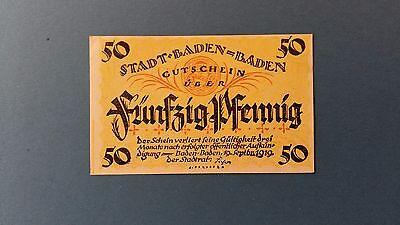 Rupertus 11.6a Notgeldschein Stadt Baden-Baden 50 Pfg 19.9.1919