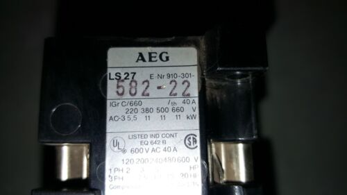 AEG LS27 Contactor 910-301-582-22 With B27 overload 910-341-258-00