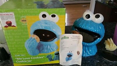 Sesame Street Cookie Monster Cookie jar with box MINT Limited Edition RARE!