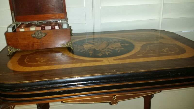 VICTORIAN RENAISSANCE REVIVAL  INLAID TOP CENTER TABLE ORIGINAL MARQUETRY
