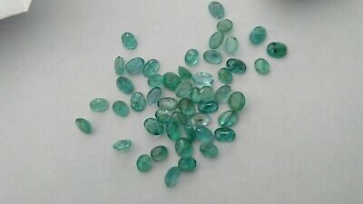 21.02 CARATS OF NATURAL OVAL green emeralds MATCHING 4.2mm by 5.4mm average