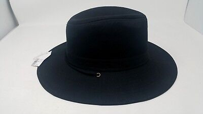 Rugged Madd Hatter Men's Trilby Hat XL Black Banded Adjustable Chin Strap NWT