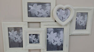 PHOTO FRAME WOODEN RUSTIC SHABBY OFF WHITE  COLLAGE VINTAGE 6 FRAME