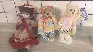 2 display bears and porcelain doll