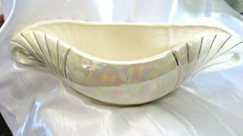 Vintage White Glazed Ceramic Pottery Oval Planter Bowl Vase Geeson
