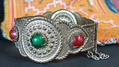 Old Afghan Tribal Bracelet in Local Metal with Local Stones …beautiful collectio