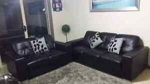 Black leather couch Highett Bayside Area Preview