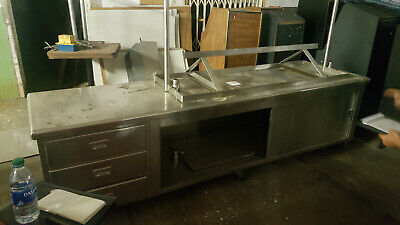 Large Stainless Steel Prep Table 10ft Wstorage Cabinet