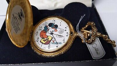 Genuine New Mickey Mouse Pocket Watch and box with chain. Battery pocket watch C