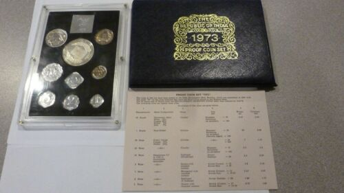 SCARCE 1973 INDIA 9 COIN PROOF SET WITH ORIGINAL BOX AND CERTIFICATE 3326 MINTED