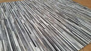 NEW $2900 3.5x3m LAST ONE Nick Scali 100% Leather Rug Grey Black Sydney City Inner Sydney Preview