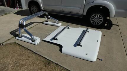 Toyota Hilux dual cab Hard Torneau cover sports bar kit.