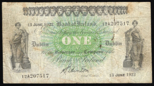 Bank of Ireland, One Pound, dated 13 June 1922. All Ireland issue. Nice Fine