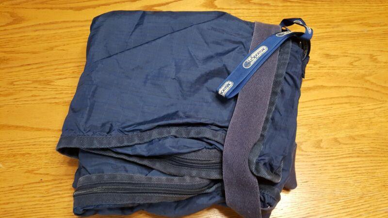 Le Sportsac Vtg Blue Nylon Garment Bag With Keys Suit Hanger Travel Luggage