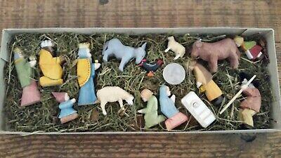15 Pc Hand Carved Miniature Wooden Nativity Set Christmas Market Munich Germany