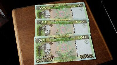 Lot de 3 Billets de 500 Francs De Guinée  (2006)