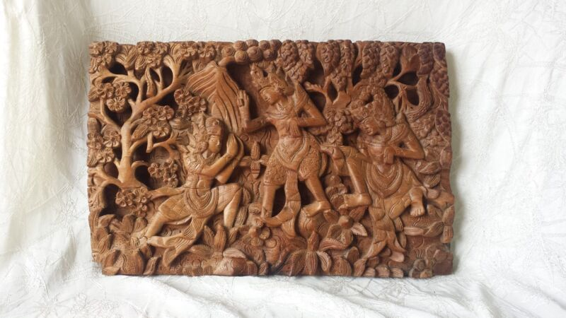 """Rare Antique Carved Balinese Wood Panel of Figures Trees & Plants 19.25"""""""
