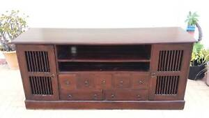 CLASSIC BALINESE PRISON DOOR TV CABINET, GC! Greenslopes Brisbane South West Preview
