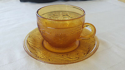 Tiara Flat Cup (Single Flat Cup Saucer by Tiara Indiana Glass Co Sandwich Amber New with sticker )