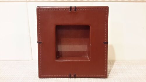 """Wolf Designs Leather? Picture Frame 2.75"""" X 2.75"""" Brown With Stitched Design EUC"""