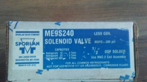 NEW SPORLAN ME9S240 SOLENOID VALVE M.O.P.D.-300 Psi. FREE SHIPPING