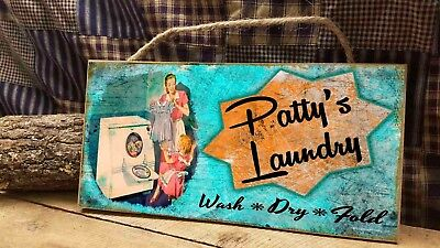 (Personalized Your Name's Laundry Room  5x10 Retro Vintage Look SIGN Plaque)