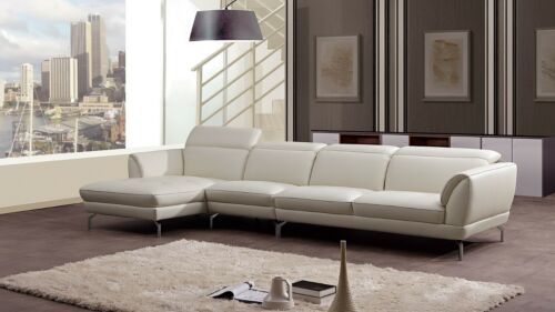 3 Pc Modern White Italian Top Grain Leather Sectional Sofa Chaise Chair Set