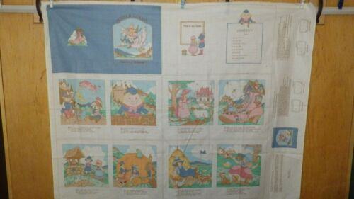 Vintage Mother Goose Nursery Rhymes Cotton Fabric Book Panel by VIP, Uncut