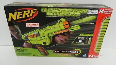 COOL NERF LUMITRON GLOW IN THE DARK VORTEX GUN! 24 rechargeable discs! Awesome!!