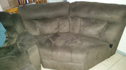 Suede cinema style couch. Manoora Cairns City Preview