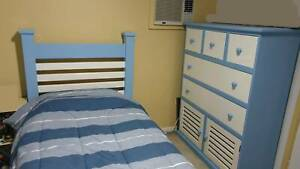 Boys single bed & 5 drawer / 2 door chest - solid wood blue & white