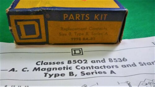 9998 BA-81 SQUARE D REPLACEMENT CONTACT PARTS KIT - Size 0 Type B Series A