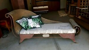 Vintage wrought iron &cane daybed