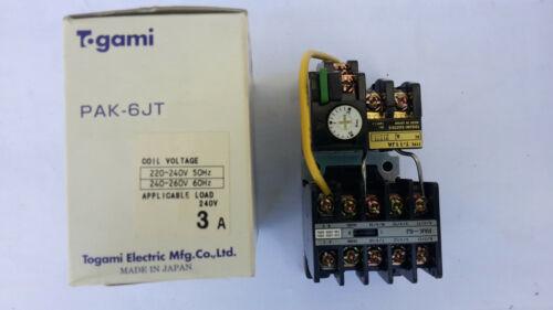 Togami PAK-6JT 2.2KW 3 Pole Contactor 240vac Coil 2.4-3.6A T-11JA 16911.1  21221
